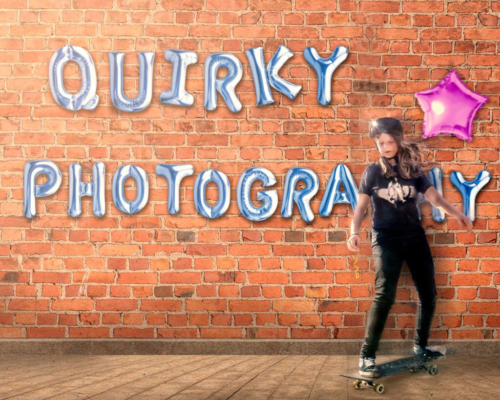 Quirky Photography header image with balloons and skateboarder