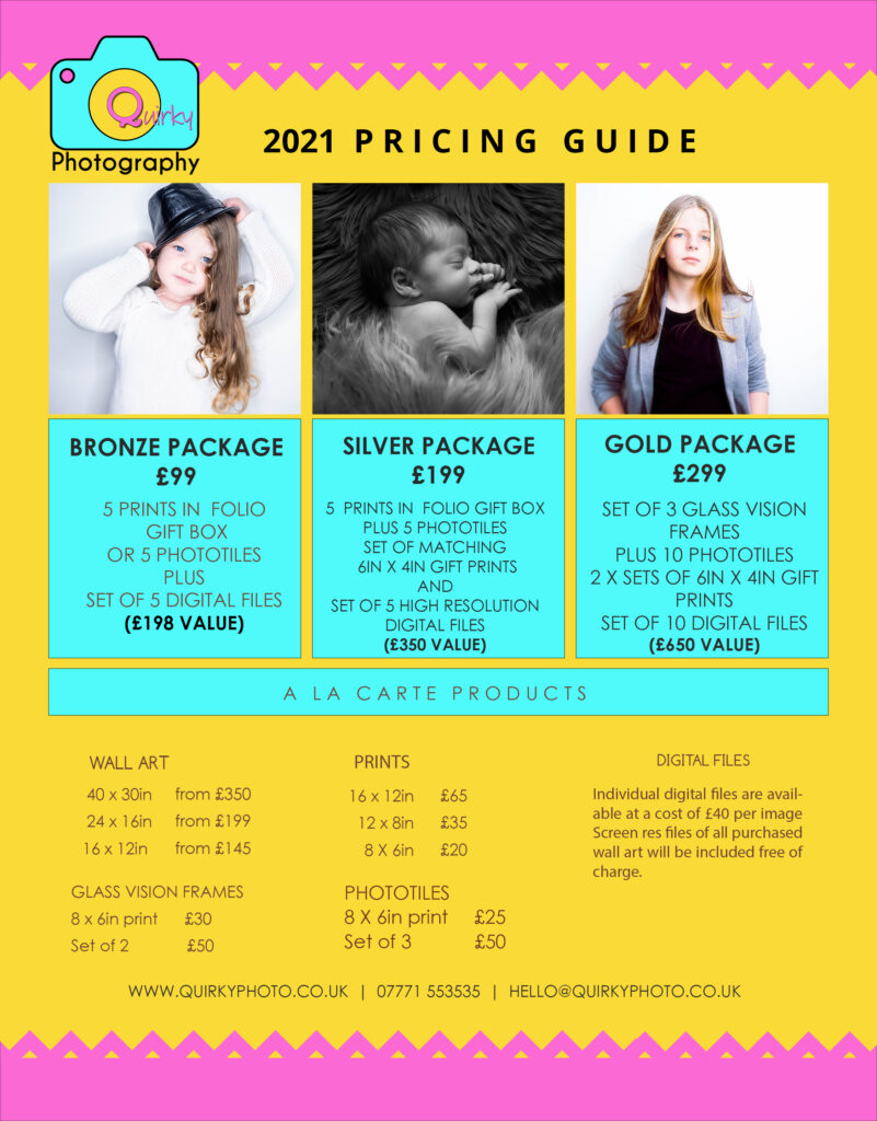Quirky Photography 2021 price list